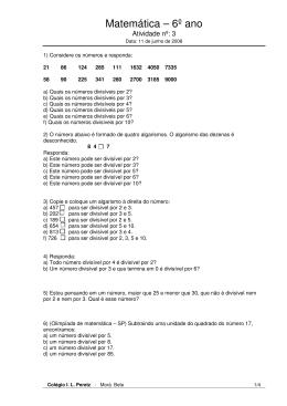 Matemática – 6º ano - Colégio I.L.Peretz