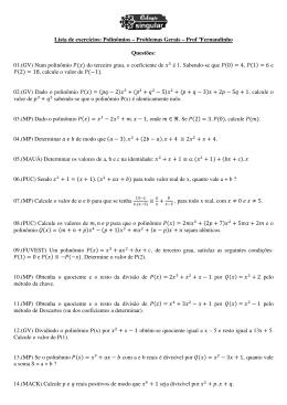 Lista de exercícios: Polinômios – Problemas Gerais – Prof