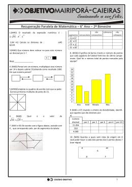 Recuperação Paralela de Matemática – 6° Ano – 2º Bimestre