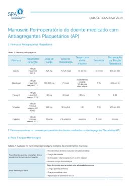 Manuseio Peri-operatório do doente medicado com Antiagregantes