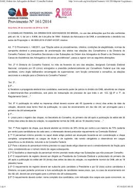 Provimento Nº 161/2014 - OAB: Ordem dos Advogados do Brasil
