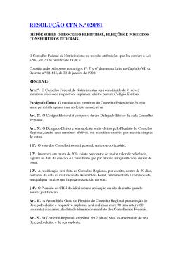 RESOLUÇÃO CFN N.º 020/81 - Conselho Federal de Nutricionistas