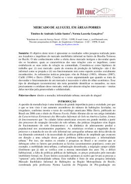 MERCADO DE ALUGUEL EM ÁREAS POBRES