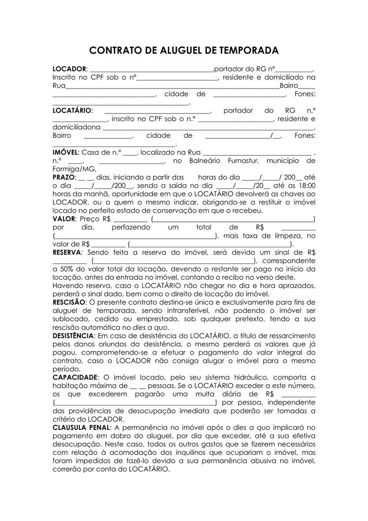 Contrato Alguel De Casas Furnastur