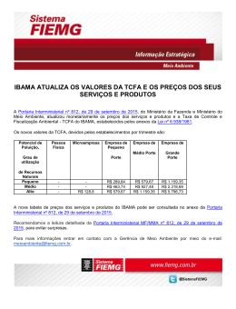 ibama atualiza os valores da tcfa e os preços dos seus