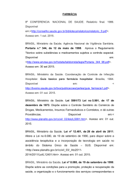 FARMÁCIA 8ª CONFERENCIA NACIONAL DE SAUDE. Relatório