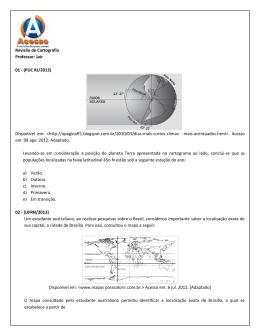 Revisão de Cartografia Professor: Jair 01