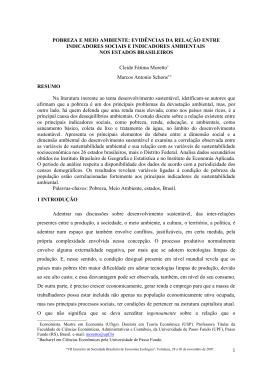 POBREZA E MEIO AMBIENTE - Sociedade Brasileira de Economia