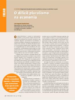 O difícil pluralismo na economia O difícil pluralismo
