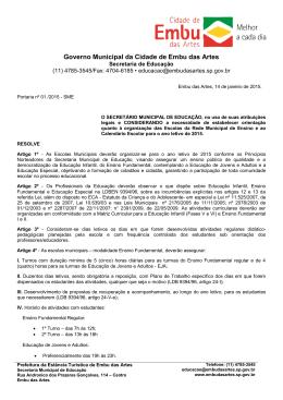 portaria 01/2015 - Prefeitura de Embu das Artes