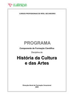 PROGRAMA História da Cultura e das Artes