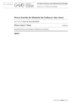 Prova Escrita de História da Cultura e das Artes
