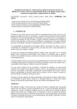 """""""INTERVENÇÃO SOCIAL ATRAVÉS DAS ARTES"""