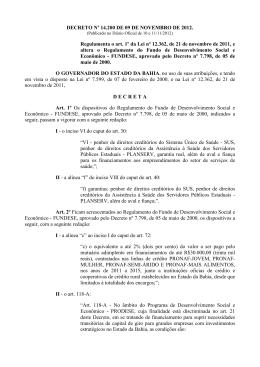 DECRETO Nº 14 - Sefaz BA - Governo do Estado da Bahia