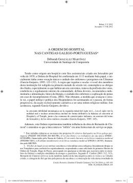 a ordem do hospital nas cantigas galego