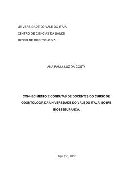 universidade do vale do itajaí centro de ciências da saúde