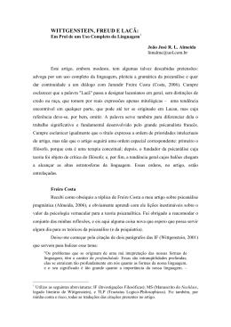 Wittgenstein, Freud e Lacã: Em Prol de um Uso Completo da