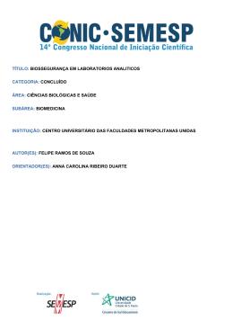 TÍTULO: BIOSSEGURANÇA EM - O Conic