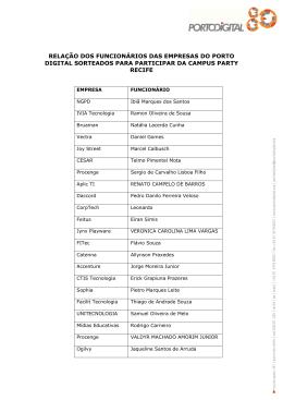 relação dos funcionários das empresas do porto digital sorteados