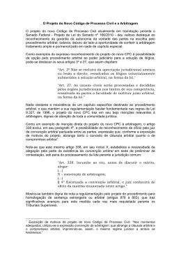 O Projeto do Novo Código de Processo Civil e a Arbitragem O