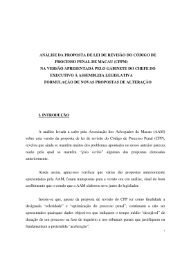 análise da proposta de lei de revisão do código de processo penal