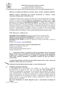 Edital do pregão nº 078/2015 - Prefeitura Municipal de Ponta Grossa