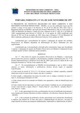 PORTARIA NORMATIVA Nº 151, DE 24 DE NOVEMBRO DE 1997