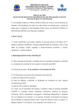 EDITAL 027/2014 SELEÇÃO DE DISCENTES DO - Unifal-MG