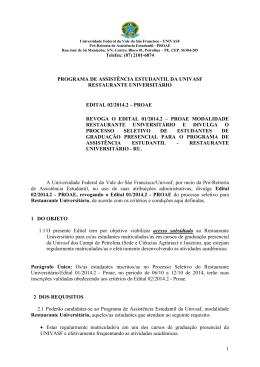 PROGRAMA DE ASSISTÊNCIA ESTUDANTIL DA UNIVASF