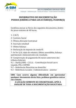 relação de documentos pessoa jurídica - A