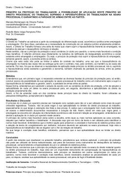 Direito / Direito do Trabalho PRINCÍPIO DA PROTEÇÃO DO