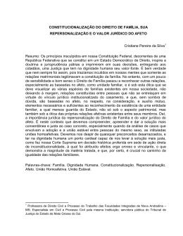 CONSTITUCIONALIZAÇÃO DO DIREITO DE FAMÍLIA, SUA