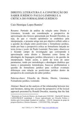DIREITO, LITERATURA E A CONSTRUÇÃO DO SABER JURÍDICO