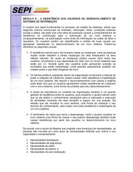 A RESISTÊNCIA DOS USUÁRIOS NO DESENVOLVIMENTO DE