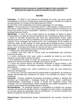 REPRESENTAÇÕES SOCIAIS DO COMPORTAMENTO