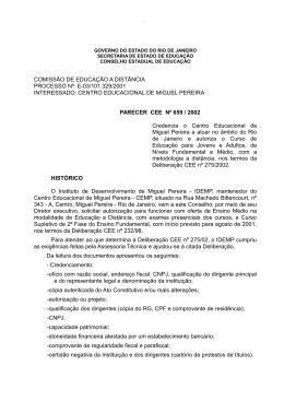 COMISSÃO DE EDUCAÇÃO A DISTÂNCIA PROCESSO Nº: E