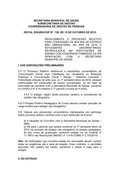 Edital que regulamenta o processo seletivo para concessão de