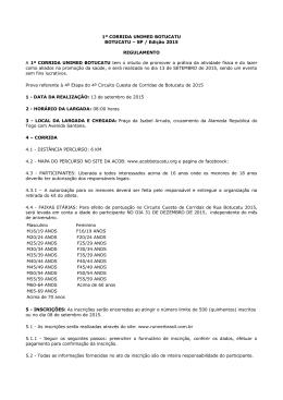 1º CORRIDA UNIMED BOTUCATU BOTUCATU – SP / Edição 2015