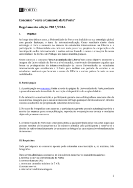 """Concurso """"Veste a Camisola da U.Porto"""" Regulamento edição 2015"""