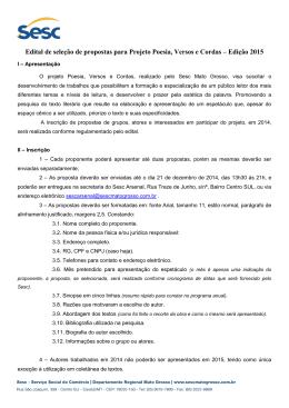 Edital de seleção de propostas para Projeto Poesia, Versos e Cordas