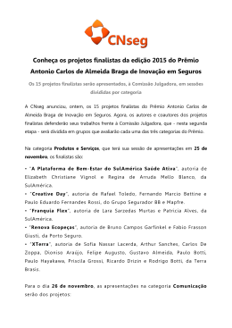 Conheça os projetos finalistas da edição 2015 do Prêmio Antonio