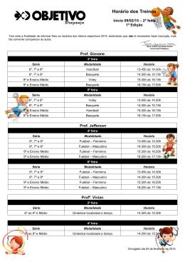 Horário dos treinos - Tânia - 1ª edição-2015