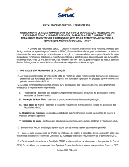 EDITAL PROCESSO SELETIVO / 1º SEMESTRE 2016