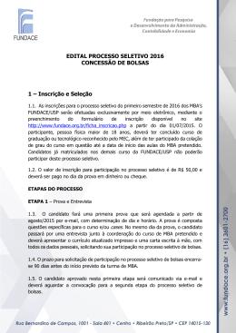 EDITAL PROCESSO SELETIVO 2016 CONCESSÃO DE