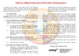 EDITAL DO PROCESSO SELETIVO DO PET- PEDAGOGIA