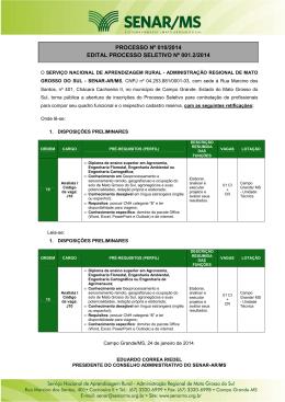 Edital Processo seletivo 001.02.2014 SENAR MS retificação 2
