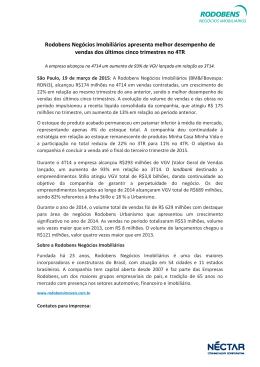 Rodobens Negócios Imobiliários apresenta melhor desempenho de