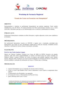 Workshop de Farmácia Magistral Estudo dos Custos em Farmácias