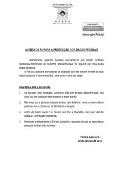ALERTA DA PJ PARA A PROTECÇÃO DOS DADOS PESSOAIS