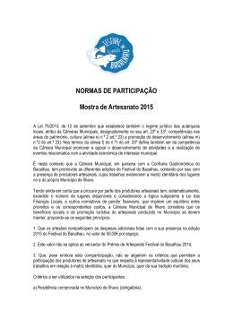Normas de Participação 2015 - Câmara Municipal de Ílhavo